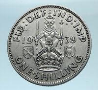 1939 Great Britain UK United Kingdom SILVER SHILLING Coin King George VI i78155