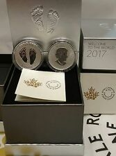 2017 Baby Gift Welcome to the World Pure Silver $10 1/2OZ Coin Canada Baby Feet