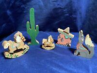 5 Vintage Folk Art Primitive Carved Wood Hand Painted Wooden Figurine Toys