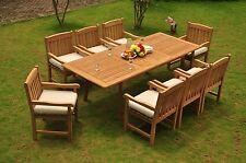 "DSDV 9pc Dining Set:GradeA Teak 94"" Rectangle Table Arm Chairs Outdoor Garden"