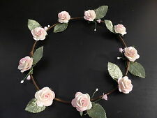 Creamy pink blush rose floral flower hair crown boho wedding festival tiara