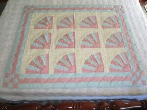 """Hand Stitched FAN PATCHWORK Cotton CRIB QUILT or Wall Hanging  -  33"""" x 41"""""""