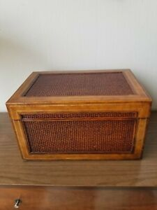 Maitland-Smith Decorative Leather and Woven Rattan Rectangular Box