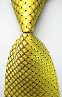 New Classic Checks Gold Black White JACQUARD WOVEN 100% Silk Men's Tie Necktie