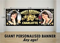 Personalised GIANT Large Happy Birthday Banner 18th 21st 30th 40th 50th N48