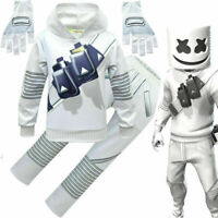 Kid Teen DJ Marshmello Hoodie+Pant+Gloves+Mask Complete Costume Halloween Party