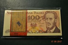 PACZKA FULL BUNDLE 100 PCS POLAND 100 ZLOTYCH NW 1986 UNC RARE SERIES