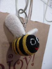 Felt Flying Bumble Bee Keyring Handmade Fair Trade Gift Home Ethical Accessory