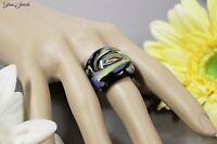 Glass Jewels Ring Schwarz Glas Venedig Stil Glitzer Aventurin Größe 52 #R009