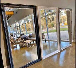New Designer Ornate Provincial Full Length Mirror Silver Black White 200x100cm