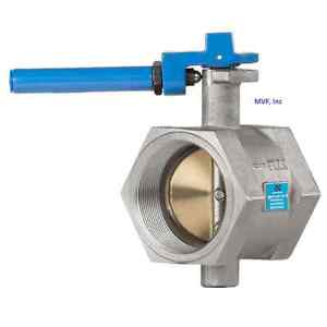 """Butterfly Valve 2"""" 200 cwp, Threaded End (Female NPT) Cast Iron, NEW <911WH"""