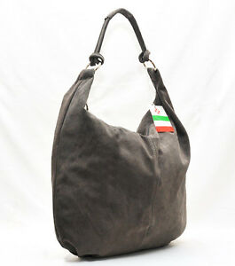 Made in Italy beautiful HOBO real suede leather  Hand Made grey Shoulder bag