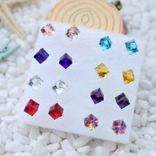 8 Pairs 6mm Shiny Multicolor Crystal Cube Ear Earrings Stud Party Jewelry Gift