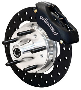 "WILWOOD DRAG DISC BRAKE KIT,FRONT,70-78 GM,10.75"" DRILLED ROTORS,BLACK CALIPERS"
