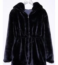 Women Ladies fashion Reversible Faux Fur Outwear Coat Jacket with hood