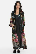 Johnny Was Women's BONNIE BLACK KIMONO Butterfly Floral Black Silk Kimono XXL NW