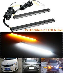 2XUltra Slim Switchback White/Amber Lights LED Daytime Running Fog Lamps DRL Kit