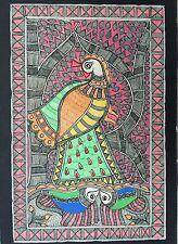 Original Madhubani Mithila Paintings Fish Peacock Handmade Indian Folk Art