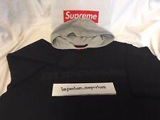 Supreme FW17 Hooded Waffle Ringer Pullover Hoodie Sweatshirt Black Size L