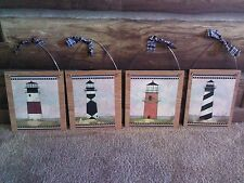 4 Lighthouse Pictures Bathroom Nautical Lighthouses Wall Hangings Home Decor