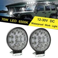 4.5'' 70W Round LED Work Light Fog Driving Lamp Offroad SUV 4X4 Off-road PCS