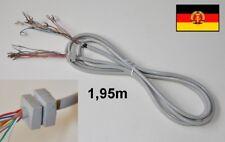 #A 1,95m Anschlusskabel für DDR Telefon 10adr. Zugentlastung Kabelschuhe RFT NEU