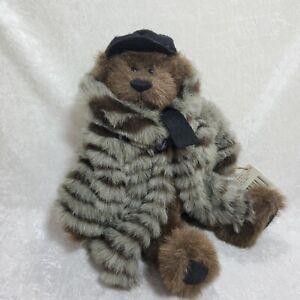 """GANZ Cottage Collectibles, """"Hudson"""" Jointed Bear w/Fur Coat w/Tag"""