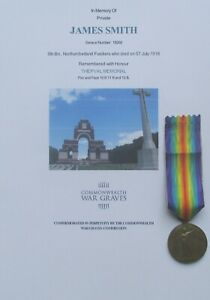 WW1 VICTORY MEDAL - James Smith - 9th Bn. Northumberland Fusiliers - KIA SOMME