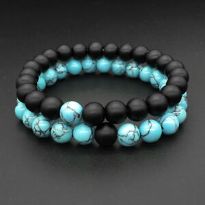 New Couple Lover His Hers Turquoise Beaded Matching YinYang Distance Bracelets