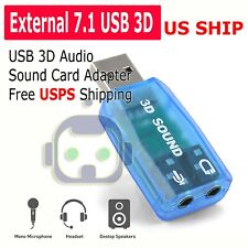 External USB 2.0 to 3D Virtual Audio Sound Card Adapter Converter 7.1 CH