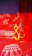 24k Yellow Gold Women's Infinity Endless Dangle Earrings 1 1/2 Inches