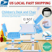 Adjustable Children's Desk and Chair Set Child Kids Study Table W/ LED Lamp Set