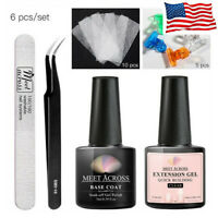 MEET ACROSS Quick Extension UV Gel Set Nail Art Non-woven Silk Tools Manicure