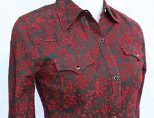 Wrangler SEXY COWGIRL Red/Black Floral Flocked SHEER Western Snap Shirt  XS
