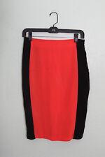 Lush Skirt Sz S Black Orange Color Block Knee Length Pencil Wiggle Halloween