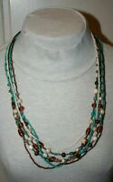 Vtg Multi Strand Seed & Graduating Bead Necklace Turquoise Cream Copper Amber