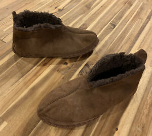 Mens LL BEAN Wicked Good Shearling Lined Bootie Boot Slippers BROWN 11 M