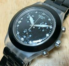 Swatch Swiss Men Black Clear Diamond Accent Quartz Chrono Watch Hour~New Battery