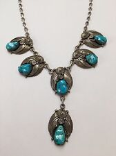 Vtg Sterling Silver Native American Turquoise Squash Blossom Necklace Signed KB