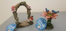Enchanted Fairy Miniature Secret Garden Archway And Bird Bath Ornament