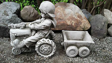 BOY ON TRACTOR Hand Cast Stone Garden Ornament Flower Pot Planter ⧫onefold-uk