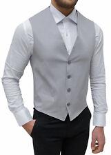 Panciotto gilet uomo grigio corpetto elegante cotone casual 100% made in Italy