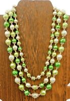 Vintage Japan Green Necklace Silver Tone Dimpled Bead Multi Strand