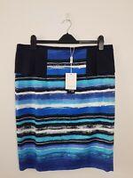 Queenspark Blue Striped Peplum Pencil Skirt Women's 16 NEW RRP $99.95 Corporate