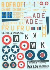 CARPENA DECALS 72.58 B-17E/F/G RAF USAAF FREE FRENCH MEMPHIS BELLE 379TH BG KIMB