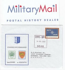 2001 SHAPE - AFSOUTH Nato KFOR Cover with Canadian FPO - BFPC 5048