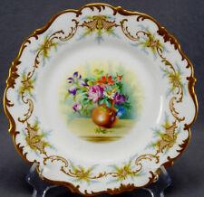 Brown Westhead Moore Cauldon Hand Painted F Hillman Floral & Gilt Scrolls Plate