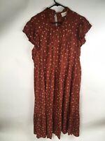 Universal Thread Burnt Orange Womens XXL Rayon Maxi Dress, Floral Peasant, Lined