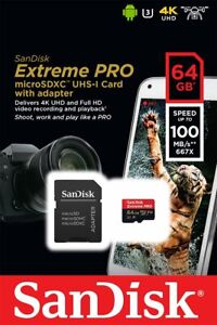 SanDisk Extreme Pro microSDXC 64Go Class 10 UHS-I U3 V30 100 Mo/s MEMORY CARD