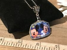 Recycled Broken Porcelain Jewelry, Mickey & Minnie Mouse Pendant